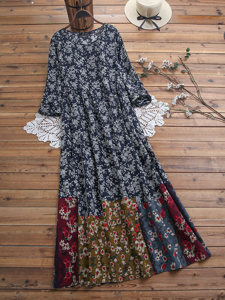 Floral Print Patchwork Pockets Plus Size Maxi Dress