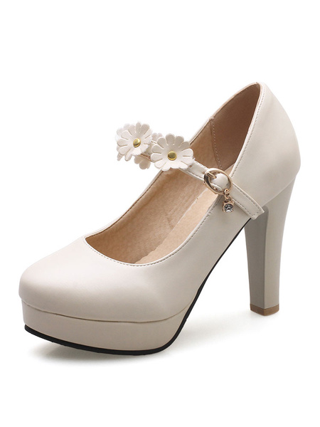 Milanoo White Women Sweet Platform Heels Flowers Beaded Mary Jane Shoes