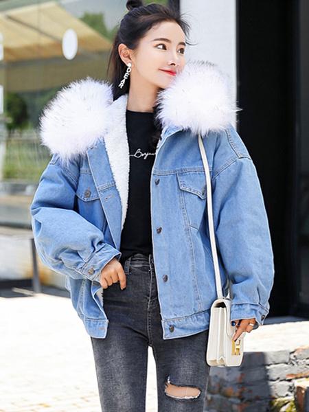Milanoo Blue Denim Jacket Faux Fur Collar Hooded Jacket Oversized Winter Overcoat
