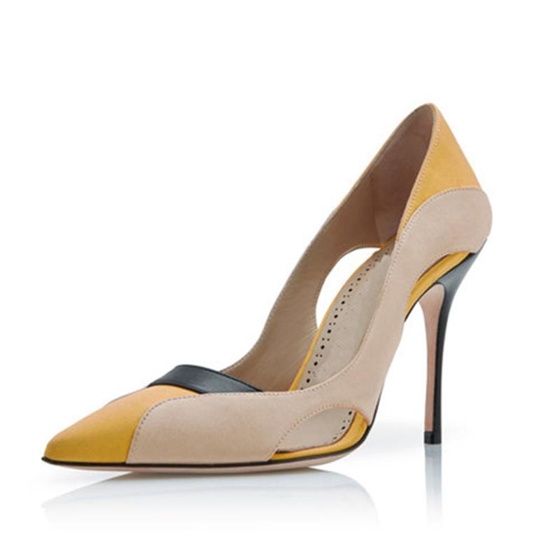 Ericdress Hollow Color Block Slip-On Stiletto Heel Pumps