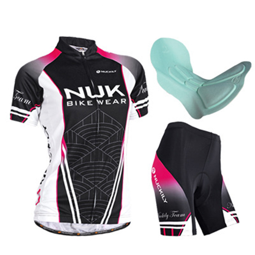 Female Breathable Short Sleeve Jersey with Full Zipper Sponged Shorts Quick-Dry Cycling Suit