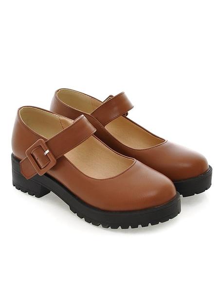 Milanoo Lolita Footwear PU Leather Puppy Heel Round Toe Lolita Shoes