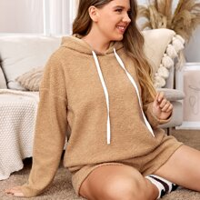 Plus Solid Drawstring Hooded Teddy PJ Set
