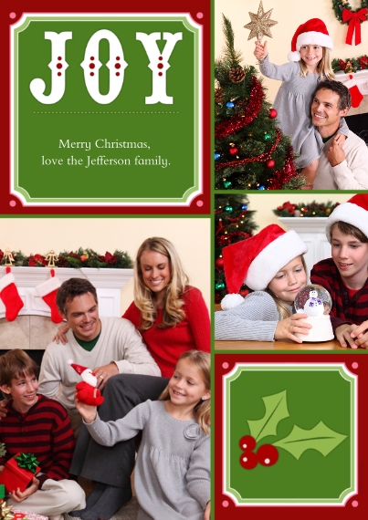 Christmas Photo Cards 5x7 Cards, Premium Cardstock 120lb with Rounded Corners, Card & Stationery -Joy + Christmas Holly