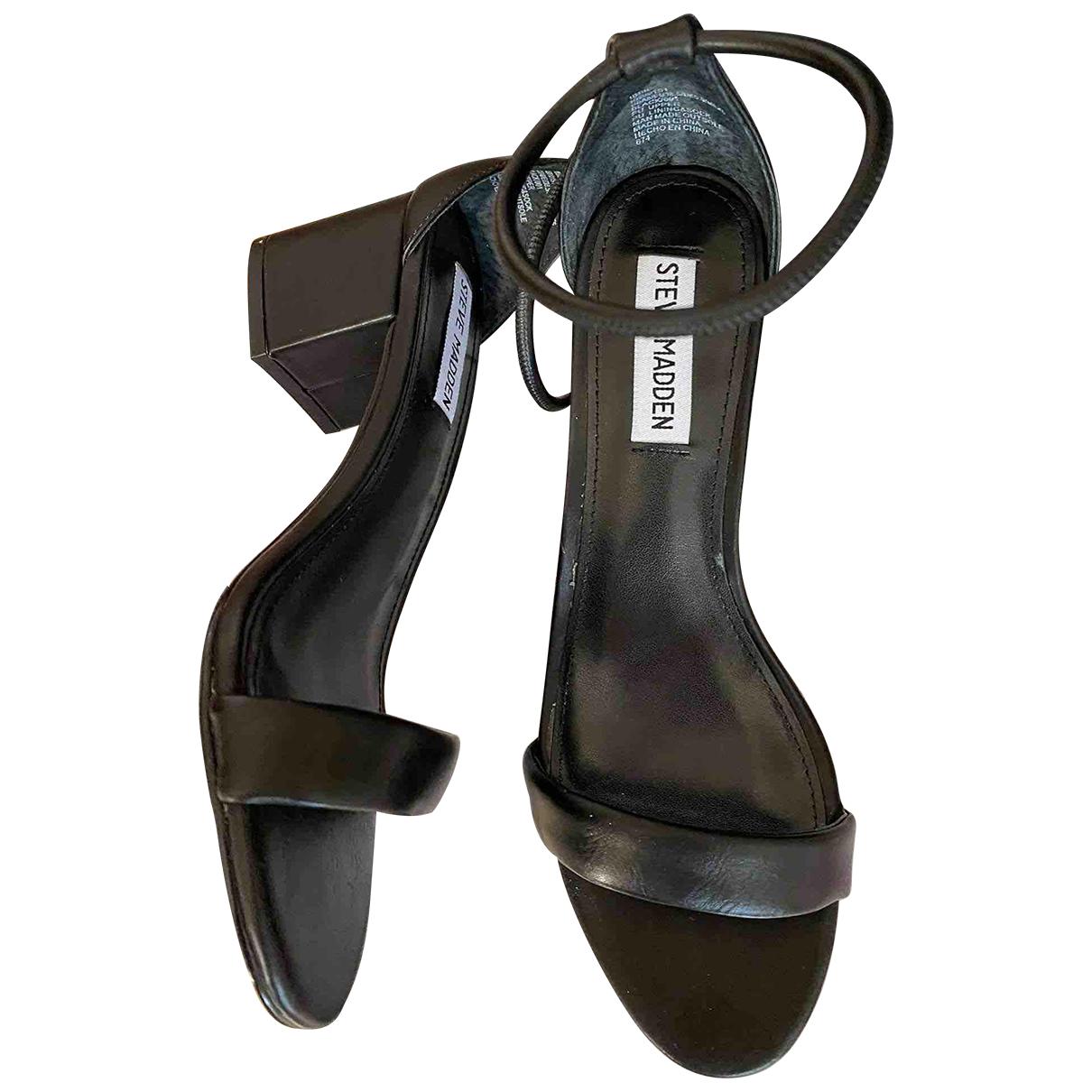 Steve Madden \N Black Leather Sandals for Women 38.5 EU