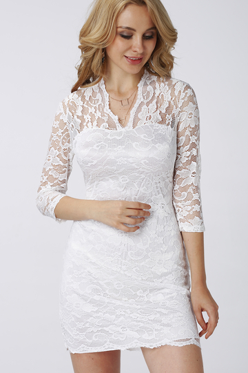 Yoins 3/4 Length Sleeves Lace Dress in White