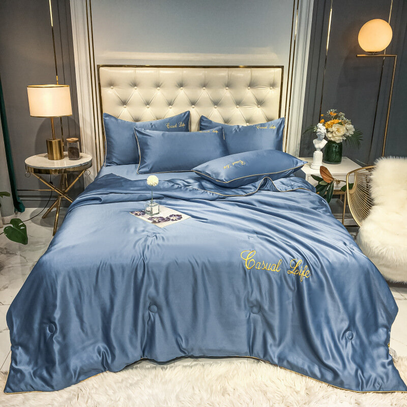 Washed Silk Embroidery Summer Quilt Tencel Single And Double Air-conditioning Quilt Ice Silk Summer Cool Quilt