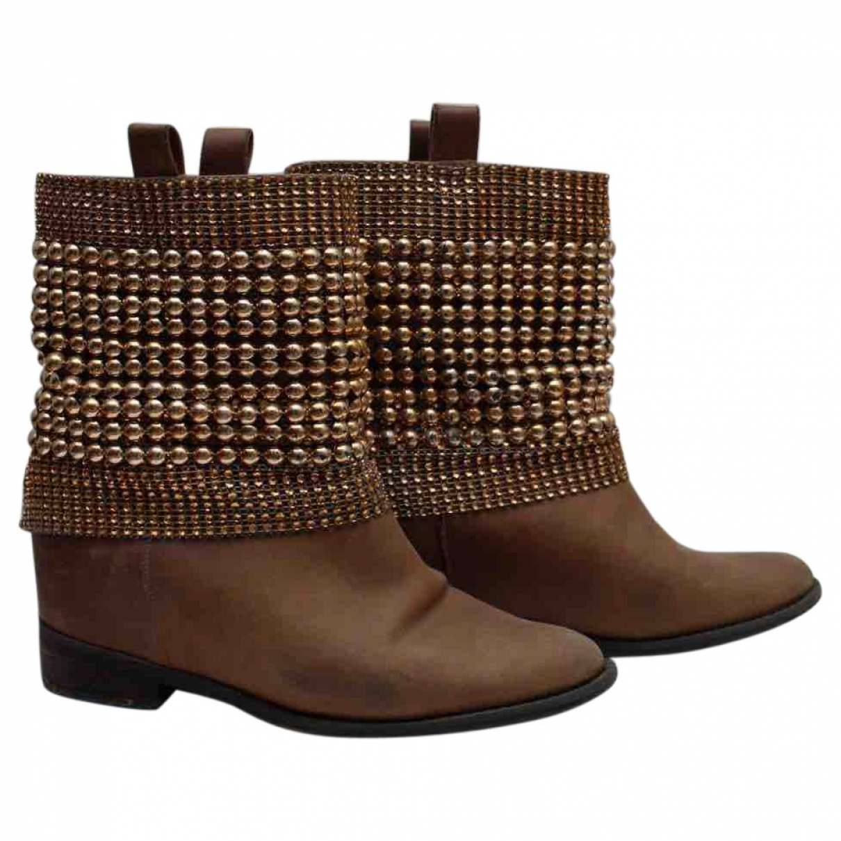 Schutz \N Brown Leather Boots for Women 37 EU