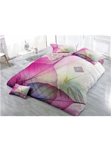 Creative Leaves Wear-resistant Breathable High Quality 60s Cotton 4-Piece 3D Bedding Sets