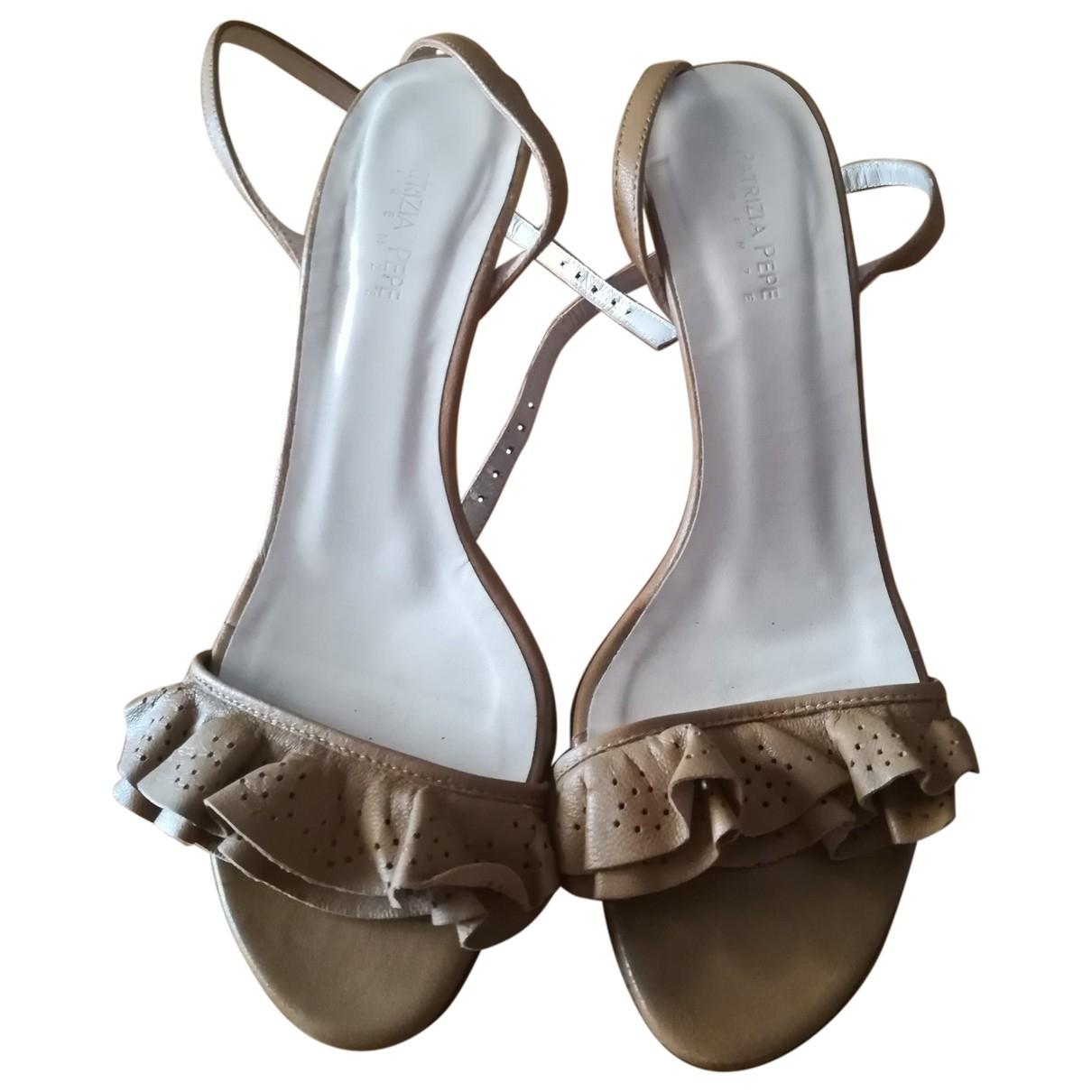 Patrizia Pepe \N Beige Leather Sandals for Women 37 EU
