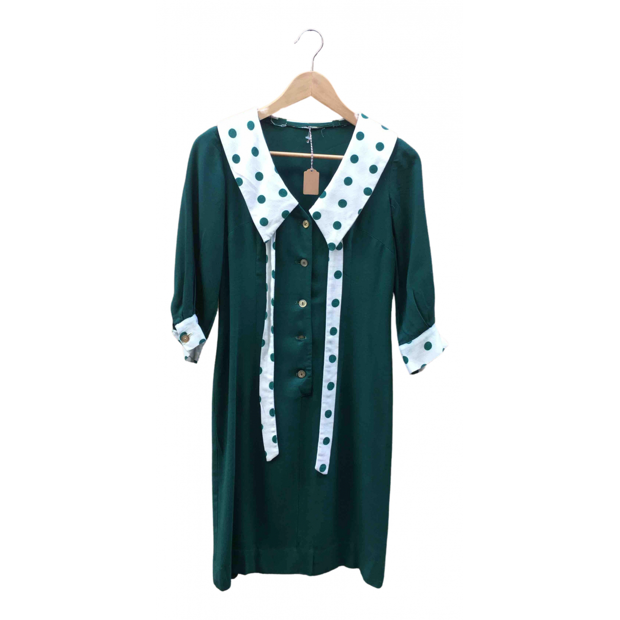 Non Signé / Unsigned Hippie Chic Green Wool dress for Women XS International