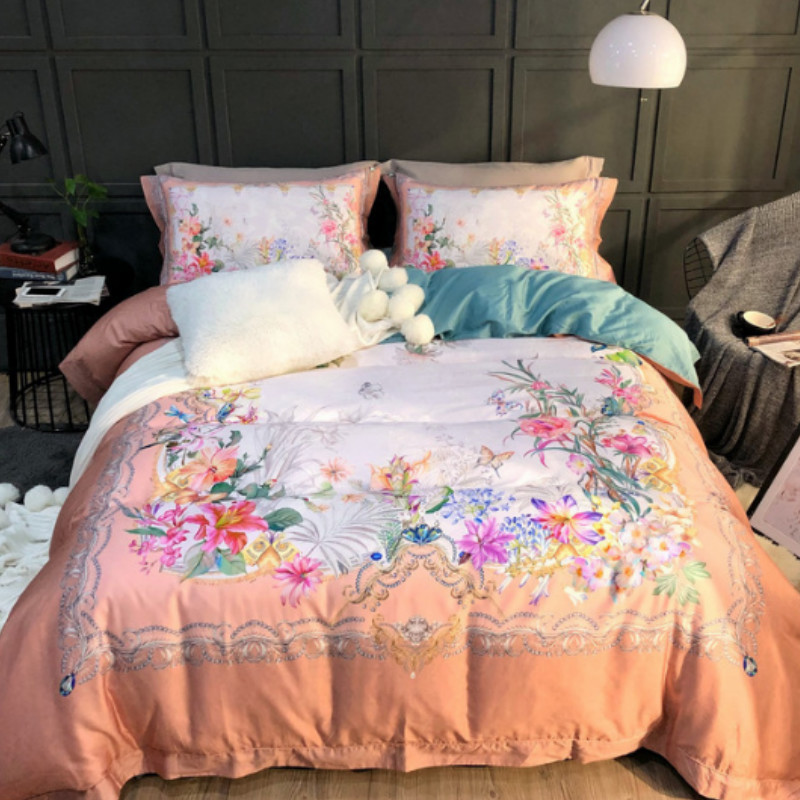 Luxury Spring Pink Flowers Printed 4-Piece Long-staple Cotton Orange Bedding Sets/Duvet Cover