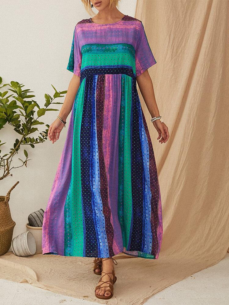 Bohemian Striped Patchwork Print Empire Waist Plus Size Maxi Dress