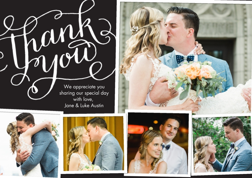 Wedding Thank You Flat Matte Photo Paper Cards with Envelopes, 5x7, Card & Stationery -Thank You Swirls Fancy