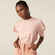 Puff Sleeve Solid Top