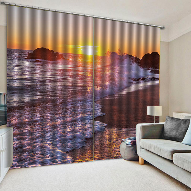 Blackout Decorative 3D Scenery Window Curtains HD Graphic Designs Printed No Pilling No Fading Free Hooks Easy to Install