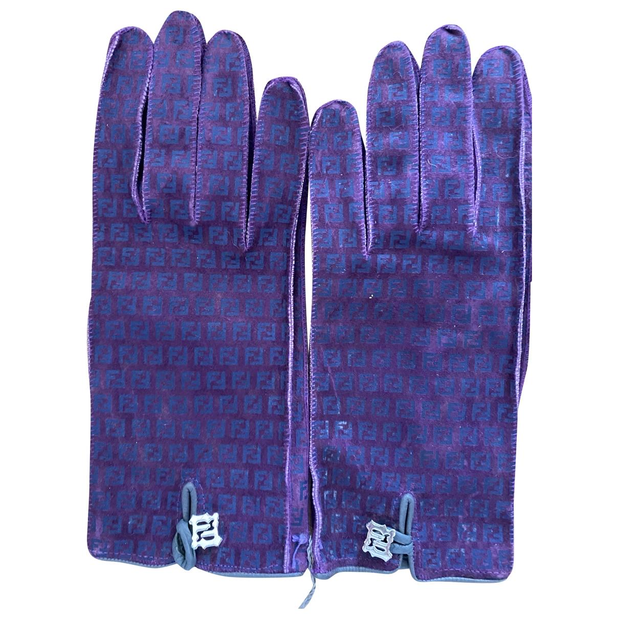 Fendi \N Purple Suede Gloves for Women S International