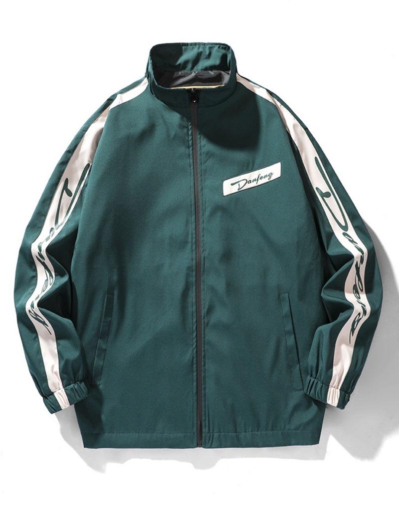 Ericdress Patchwork Stand Collar Color Block Zipper Fall Jacket