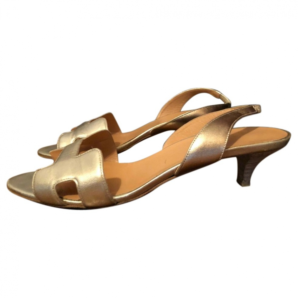 Hermès Night Gold Leather Sandals for Women 39.5 EU