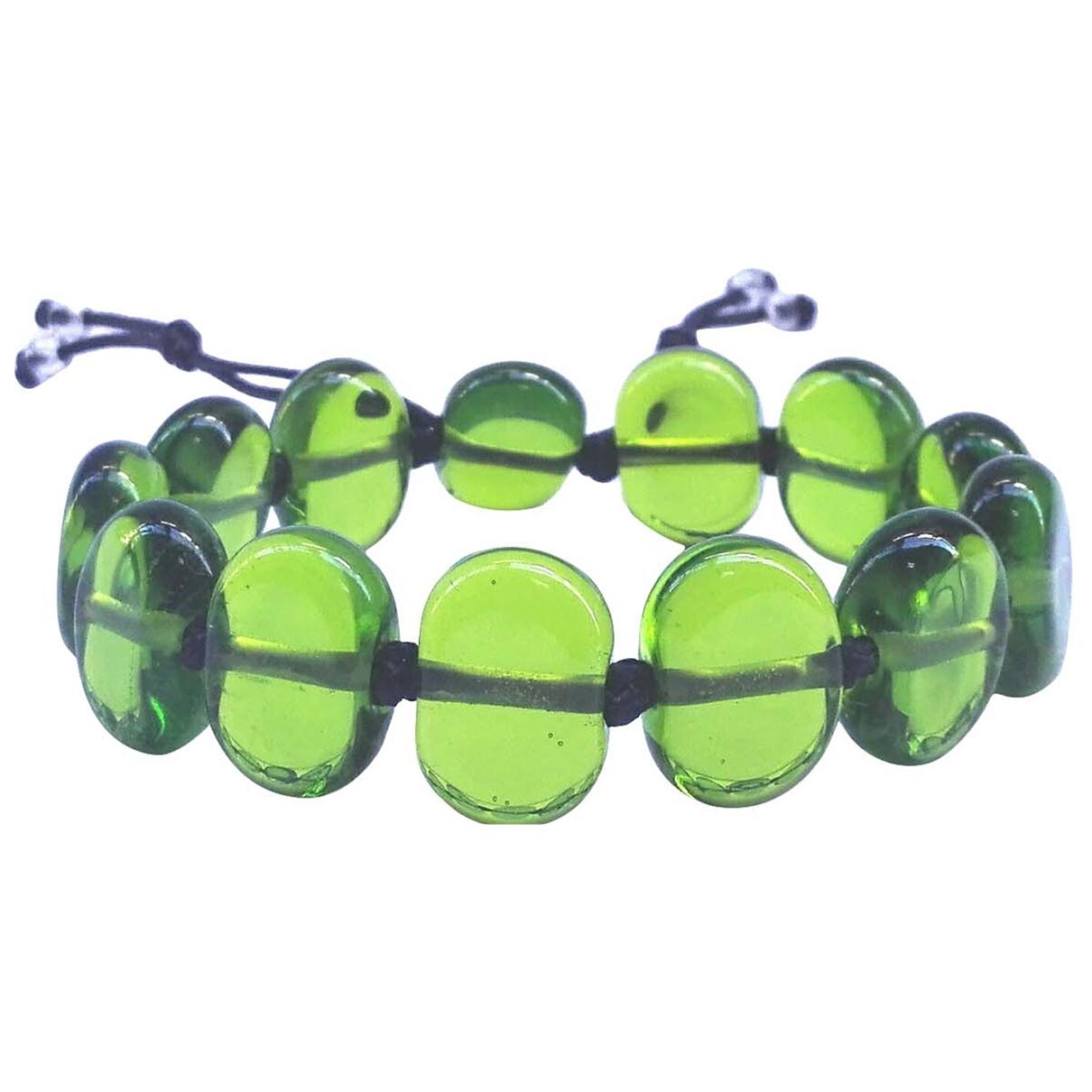 Non Signé / Unsigned Motifs Ethniques Green Glass bracelet for Women \N