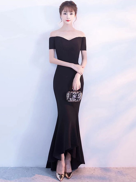 Milanoo Black Prom Dresses Off The Shoulder Short Sleeve Mermaid Satin Asymmetrical Formal Party Dresses wedding guest dress