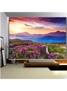 3D Purple Rhododendrons and Sunset Mountains Printed Natural Scenery Roller Shades