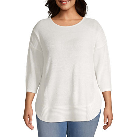 a.n.a-Plus Womens Curved Hem Sweater, 5x , White