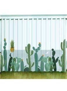 3D Cartoon Green Plants Cacti Printed Custom Sheer Curtains