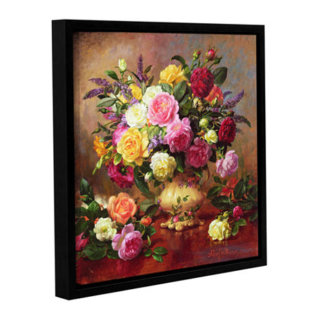 Brushstone Roses From a Victorian Garden Gallery Wrapped Floater-Framed Canvas Wall Art, One Size , Pink