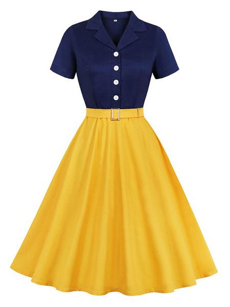 Milanoo Vintage Dress 1950s Yellow Woman\'s Buttons Short Sleeves Turndown Collar Rockabilly Dress