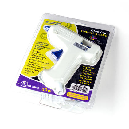 10W Low Voltage Hot Melt Glue Gun Craft Repair Tool with 2 Glue Sticks in Clam Pack, White