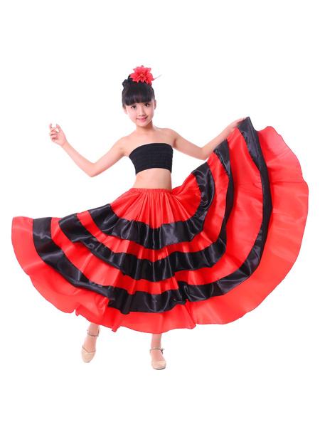 Milanoo Paso Doble Dance Skirt Two Tone Ruffle Red Long Skirt