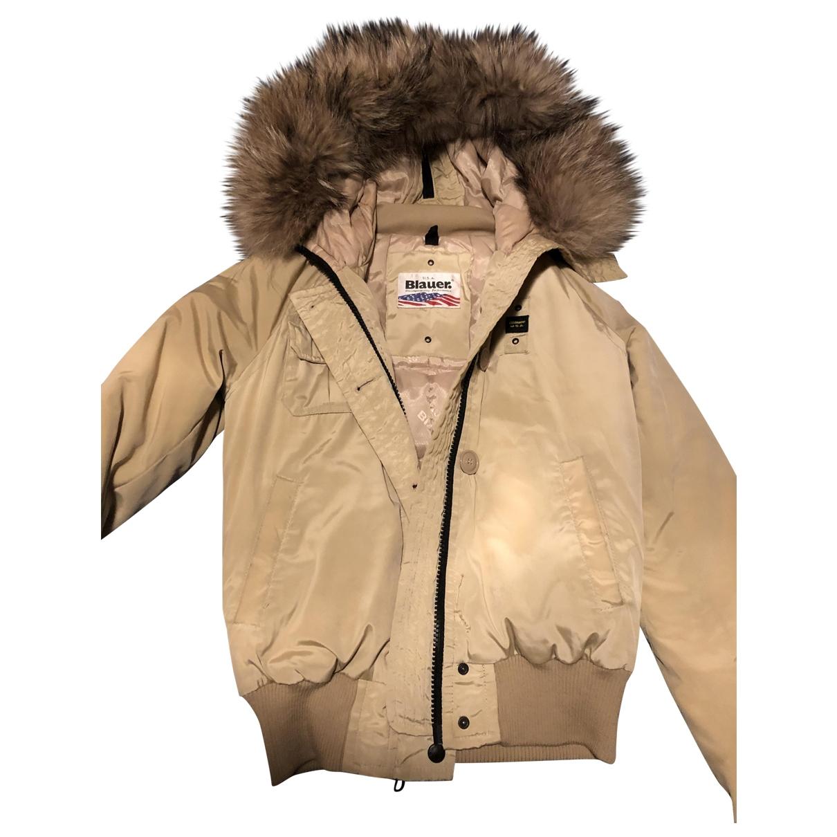 Blauer \N Beige Leather coat for Women 40 IT