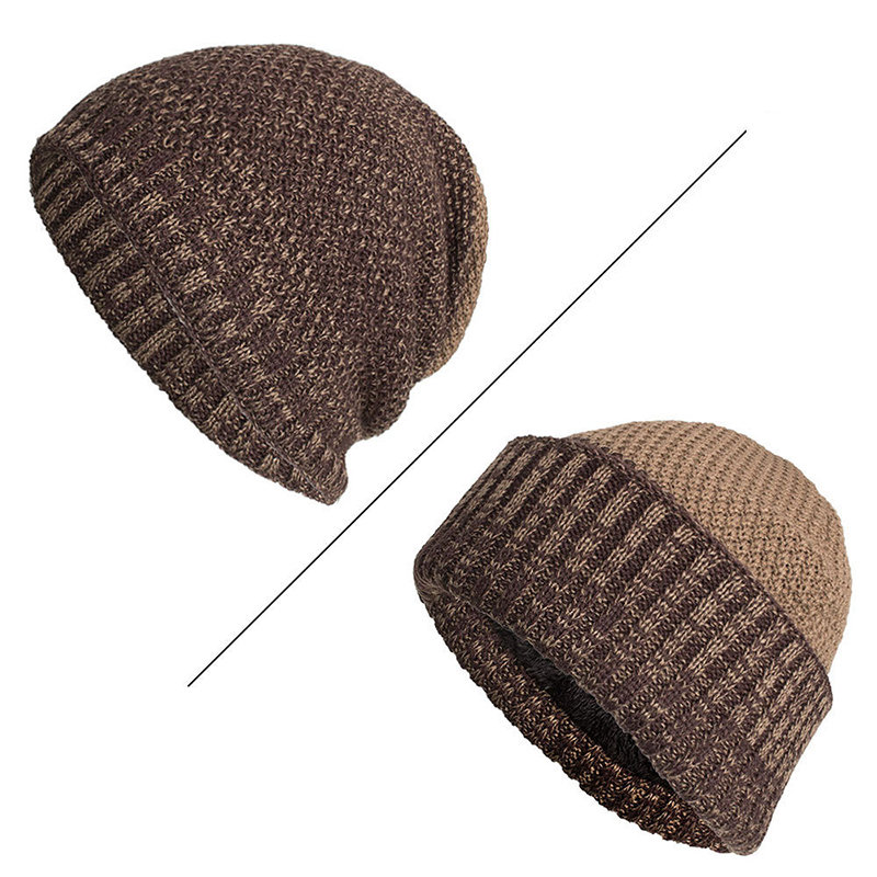 Mens Wool Velvet Knitted Hat Warm Winter Outdoor Casual Crimping Uncrimping Dual Use Beanie