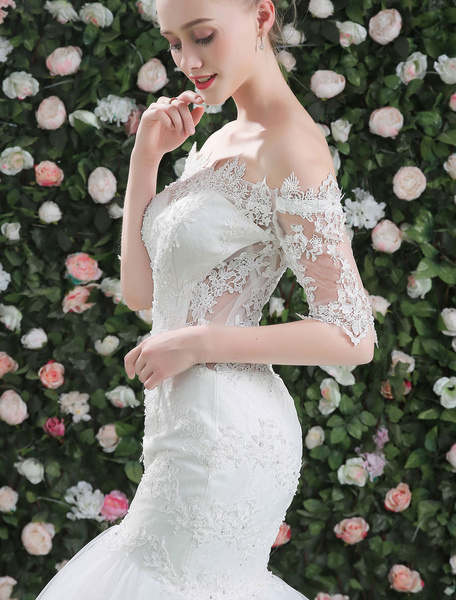 Milanoo Mermaid Wedding Dresses Lace Beading Off The Shoulder Half Sleeve White Tulle Bridal Gown With Train