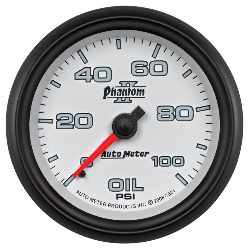 AutoMeter GAUGE; OIL PRESSURE; 2 5/8in.; 100PSI; MECHANICAL; PHANTOM II