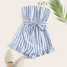 Ruffle Hem Belted Striped Tube Romper