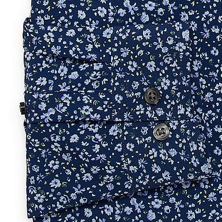 JF J.Ferrar Mens 4-Way Stretch Performance Long Sleeve Dress Shirt - Slim, 14-14.5 32-33, Blue