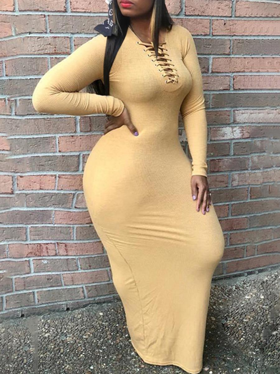 LW lovely Casual Bandage Design Khaki Maxi Plus Size Dress