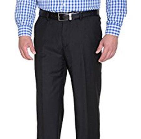 Braveman Mens Solid Black Slim Fit Polyester Blend Flat Front Pant