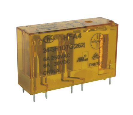 Hongfa Europe GMBH , 24V dc Coil Non-Latching Relay, 6A Switching Current Surface Mount Single Pole (30)