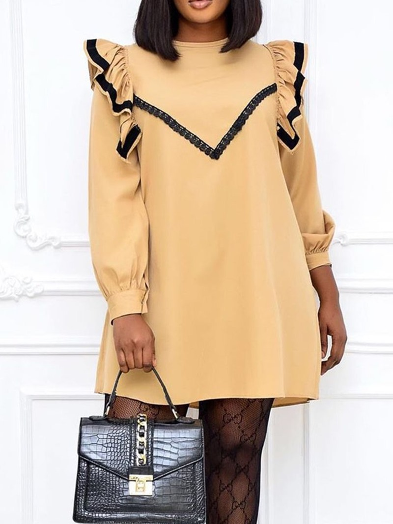 Ericdress Above Knee Lace Round Neck Fall Stripe Dress