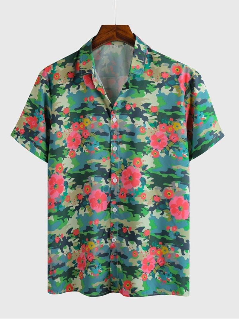 Ericdress Print Floral Lapel Men's Slim Shirt