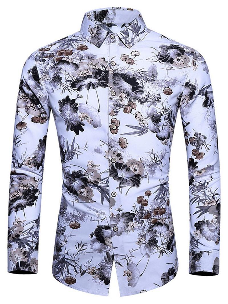 Ericdress Lapel Color Block Fashion Fall Men's Slim Shirt