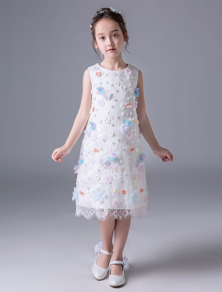 Milanoo Flower Girl Dresses Ivory Lace Applique Short Sleeveless Kids Knee Length Party Dresses