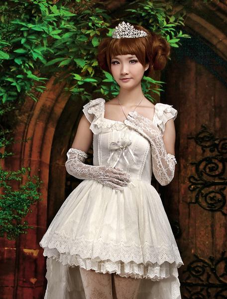 Milanoo Ecru White Bow Straps Neck Sleeveless Cotton Blend Lolita One-Piece
