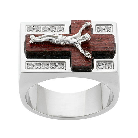 Mens Cubic Zirconia Stainless Steel & Wood Crucifix Ring, 12 , No Color Family