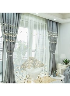 Fancy Stereo Applique Maple Leaf Pattern Embroidered Custom Sheer Curtains with Decorative Pendants