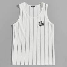 Men Letter Embroidered Striped Tank Top