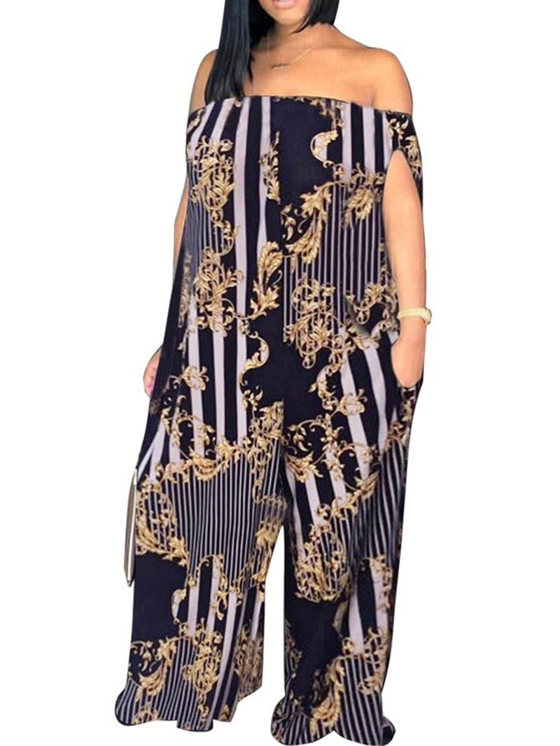 Ericdress Stripe Print Off Shoulder Loose Jumpsuit(Without Belt)